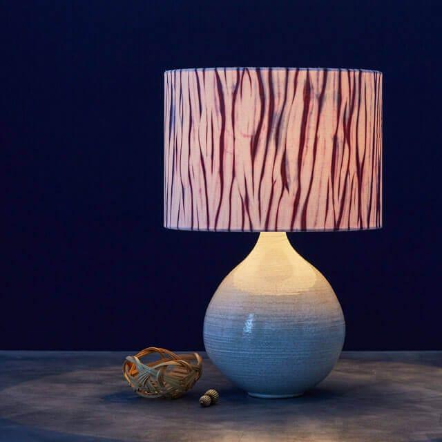 Storm striped Arashi Shibori lampshade in dark purple