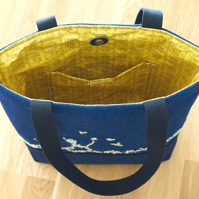 Hand Embroidered Tote Bag Blue