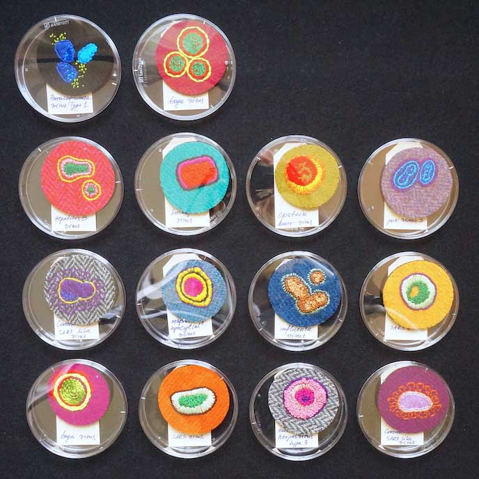 handembroidered virus brooches