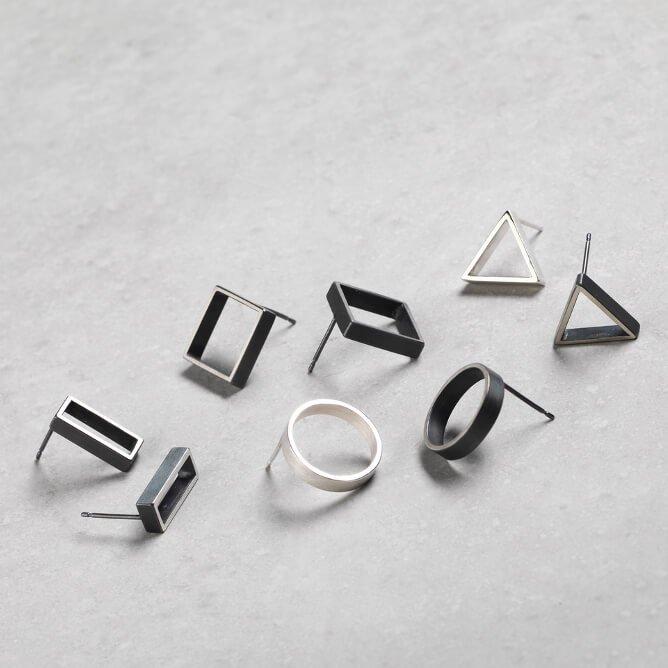 Sheng Zhang jeweller silversmith handcrafted frame earrings